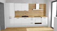 Bílá lesklá kuchyň s imitací dřeva