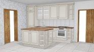 Rustikální světla kuchyň s ostrůvkem