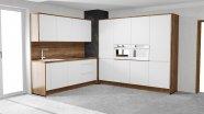 Bílá lakovaná bezúchytová kuchyň