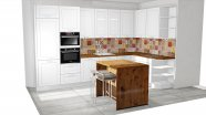 Rustikální kuchyň s pracovní deskou v dekoru dubu
