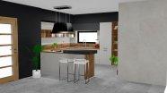 Vidiecká kuchyňa s pracovnou doskou v imitácii dubu