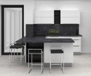 Lakovaná leská kuchyně s tmavou pracovní deskou