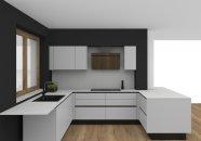 Černá matná kuchyně do tvaru U spojená s obývacím pokem