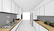 Biela lakovaná kuchyňa s drevodekorom