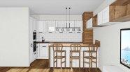 Alpská bílá kuchyň s ostrůvkem