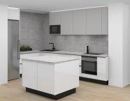 Bílá lakovaná lesklá kuchyně s imitací betonu