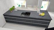 Kuchyň v dekoru tmavého betonu