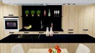 Dřevěná kuchyň s ostrůvkem