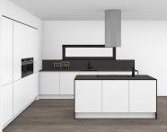 Bílá lesklá kuchyně s tenkou pracovní deskou