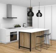 Bílá matná kuchyně v kombinaci s dýhou