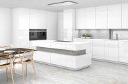 Bílá skleněná kuchyně